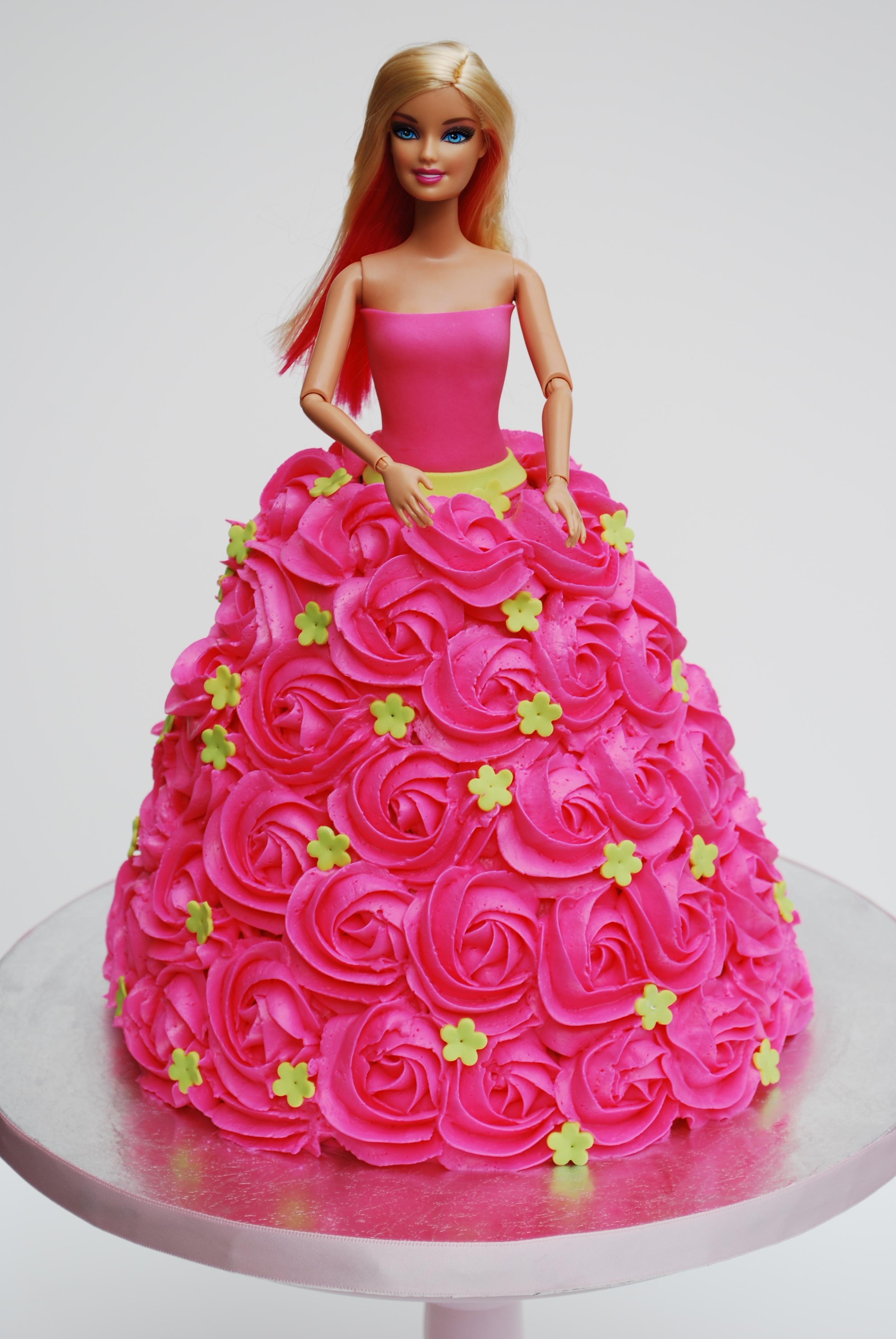 Pink Rosette Barbie Cake sweetworldofcakes