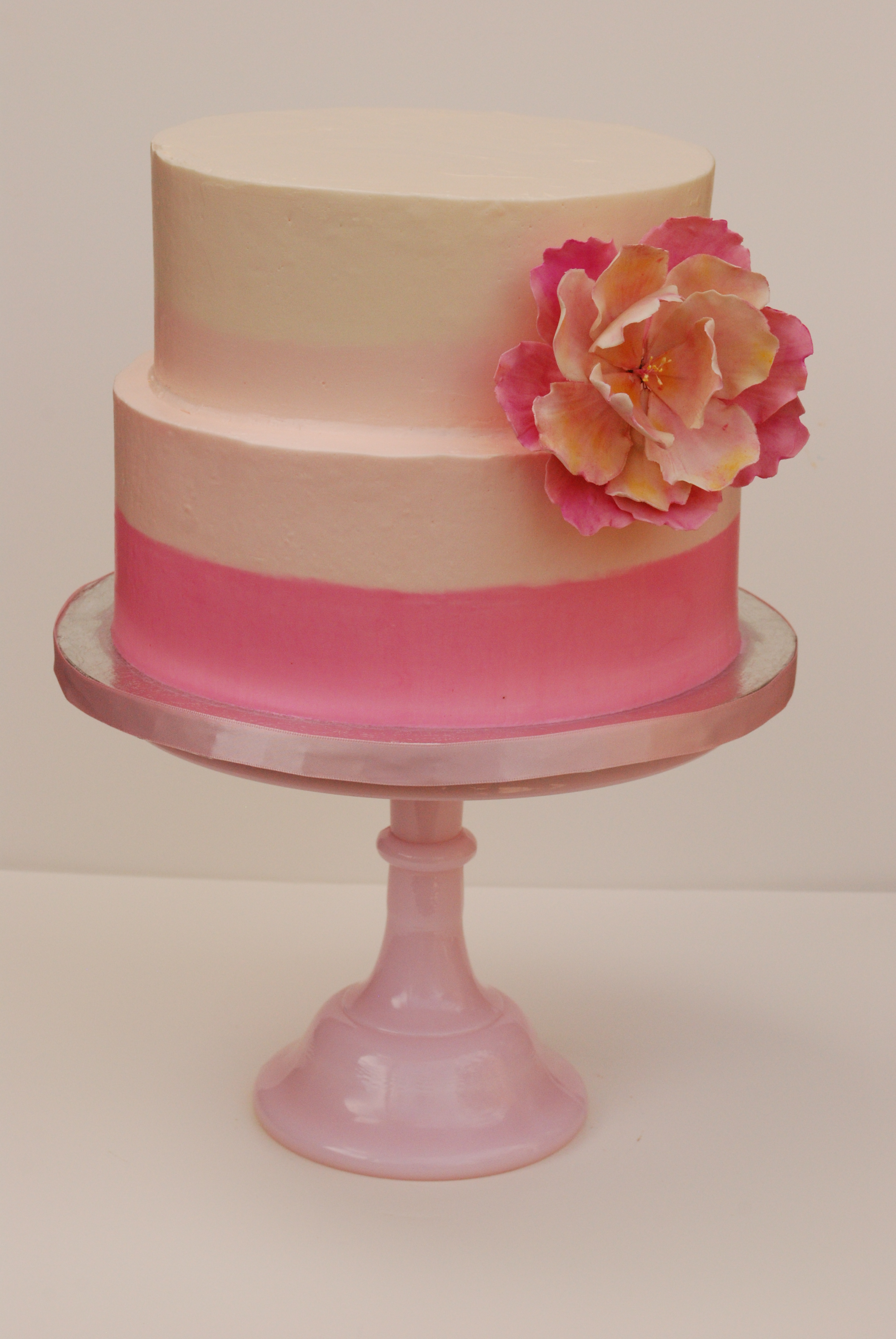 Pink Ombre Flower Cake Sweetworldofcakes